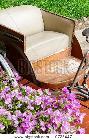 Old Tricycle With Beige Leather Cushion