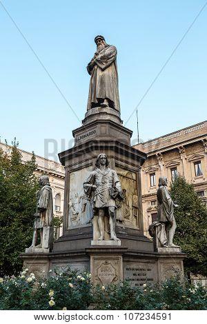 Leonado Da Vinci Statue In Milan, Italy