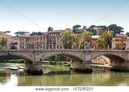 San Pietro Basilica  And Sant Angelo Bridge  In Rome