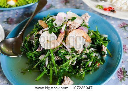 Shrimp, Pork, Shallot And Bracken Fern