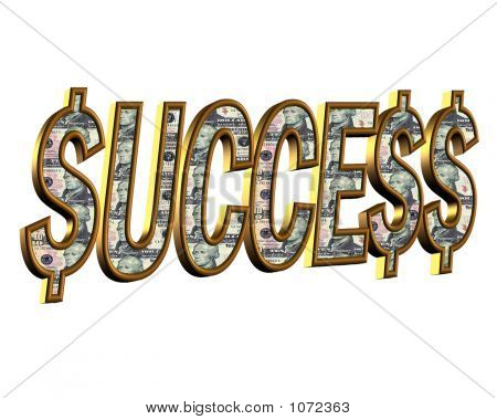 Success Money Faced Text