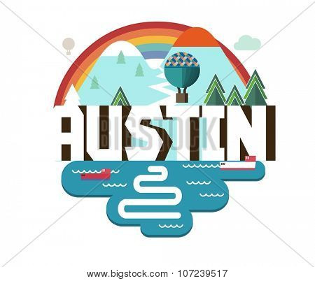 Austin in colorful poster design.