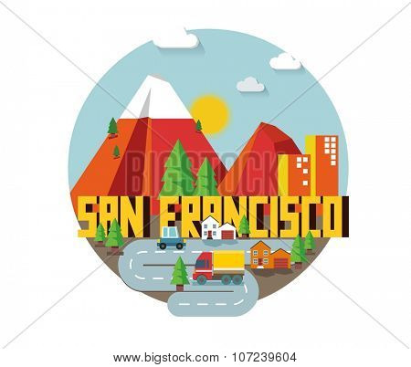 San Francisco in colorful poster design.