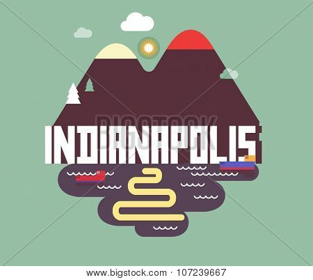 Indianapolis in colorful poster design.