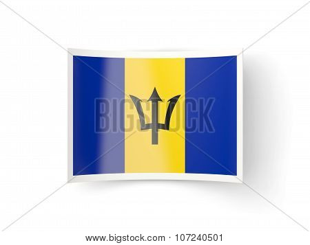 Bent Icon With Flag Of Barbados