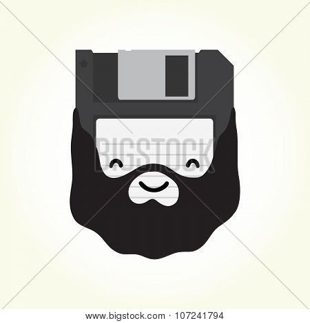 Hipster floppy disk vector illustration