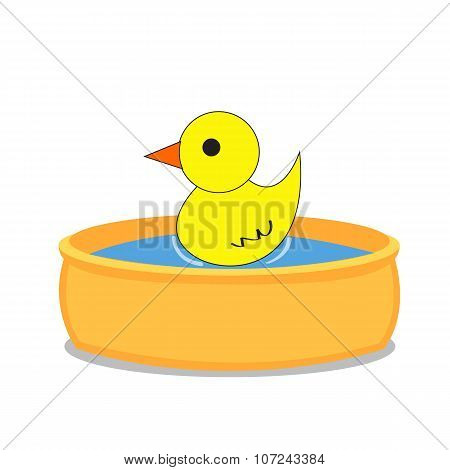Bathtub And A Duck. Isolated Object Background.