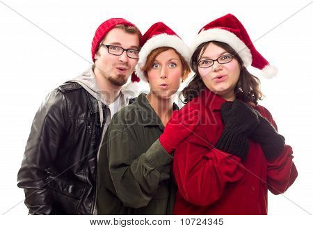 Three Friends Wearing Warm Holiday Attire