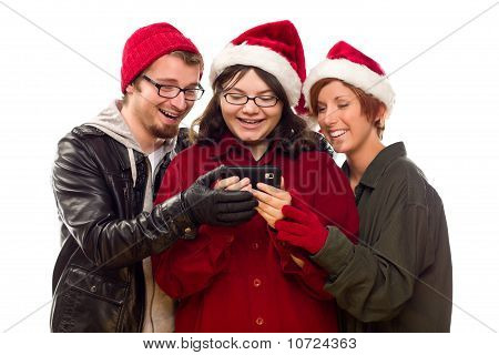 Three Friends Enjoying A Cell Phone Together