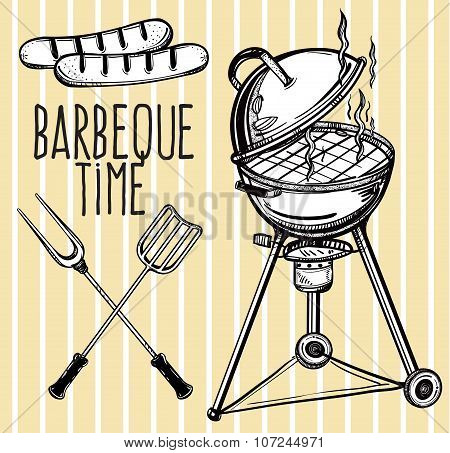 Set of barbecue line art icons.