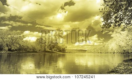 Daytime. Nighttime. River Landscape. Yellow Glow. Metallic Luster.