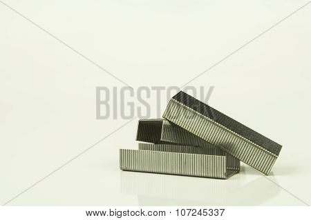 Staples On White Background, Isolated