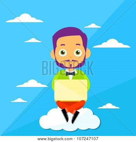 Cartoon Man Sitting on Clouds Use Laptop Computer, Internet Communication Connection Concept