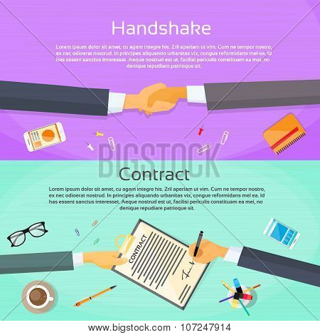 Handshake Businessman Contract Sign Up Paper Document, Business Man Hands Shake Pen Signature Office