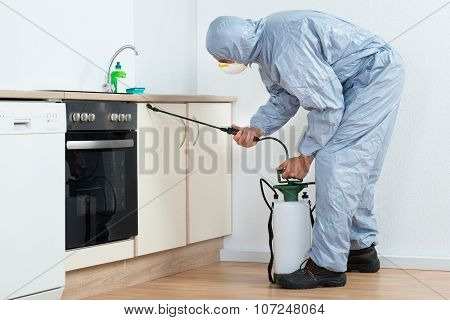 Exterminator Spraying Pesticide On Wooden Cabinet