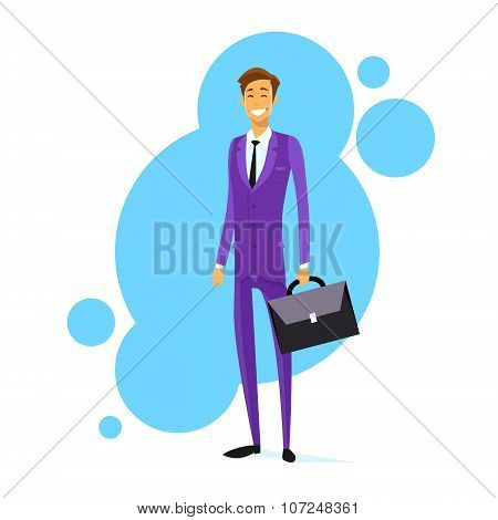 Businessman Smile Hold Briefcase Full Length Flat