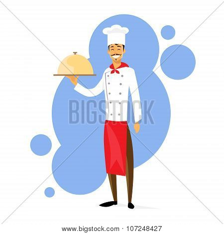 Cartoon Chef Cook with Dish Full Length Flat Vector