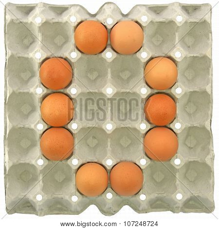 A Letter O From The Eggs In Paper Tray