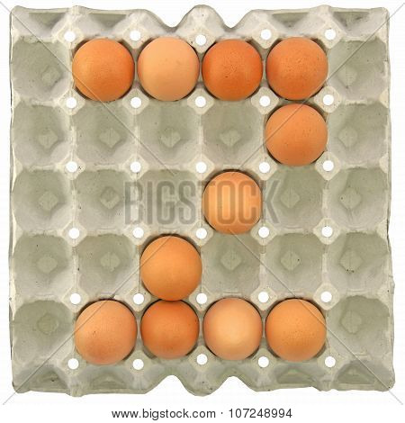 A Letter Z From The Eggs In Paper Tray