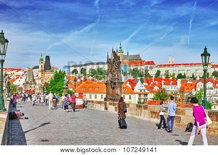 Prague,czech Republic- September 13, 2015: View Of Prague Castle And Charles Bridge-famous Historic