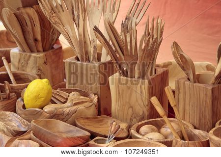 Cookware Carved In Wood