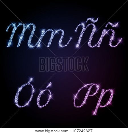 Glittering Alphabet of sparkles (glittering font concept). Letters M, N, O, P with special simbols in separate group.