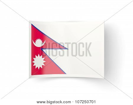 Bent Icon With Flag Of Nepal