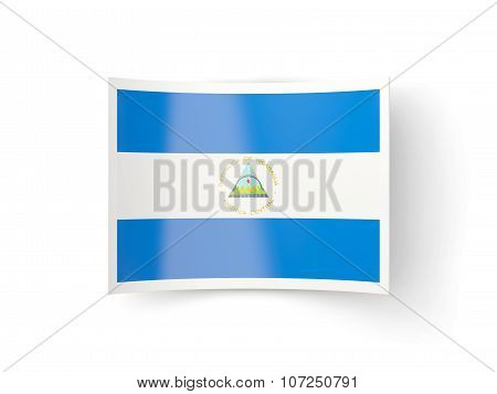 Bent Icon With Flag Of Nicaragua