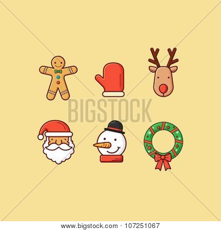 Set of simple christmas ornament, icon