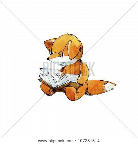 Small fox reading a book. Watercolor and ink illustration.