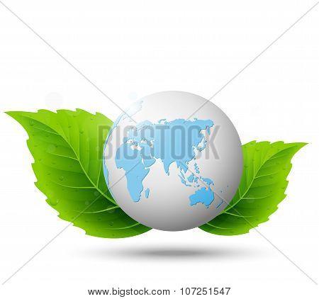 Globe and green leaf