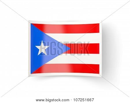 Bent Icon With Flag Of Puerto Rico