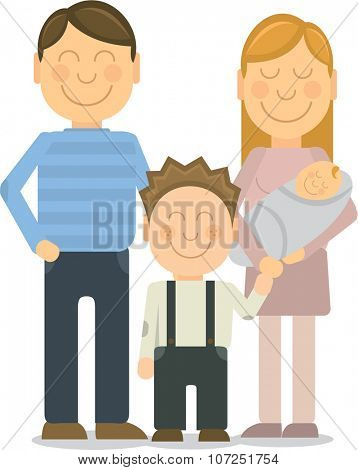 Vector Happy family portrait. Happy family gesturing with cheerful smile