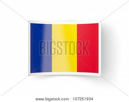 Bent Icon With Flag Of Romania