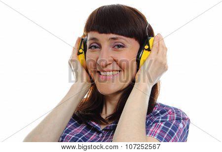 Builder Woman Wearing Protective Headphones