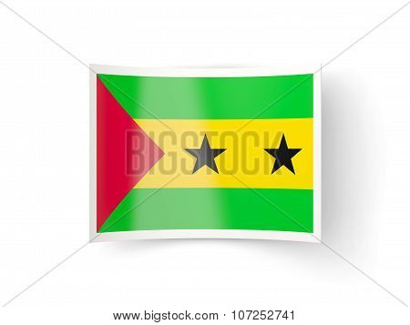 Bent Icon With Flag Of Sao Tome And Principe
