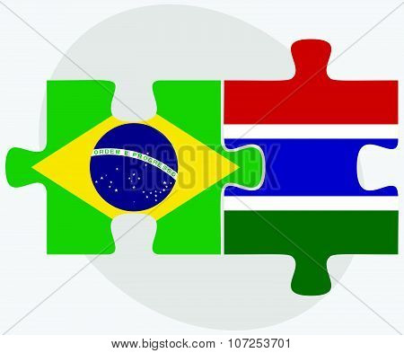Brazil And Gambia Flags