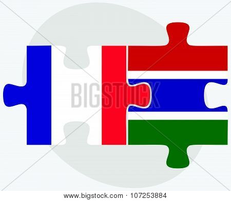 France And Gambia Flags