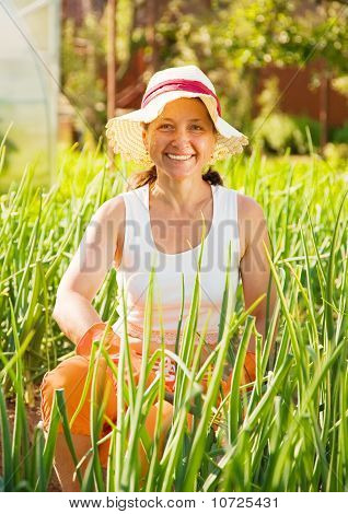 Woman  In Plant Of Onion