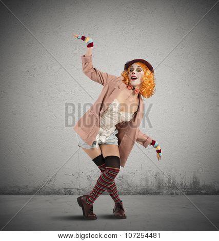 Clown extravagant pose