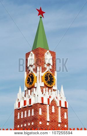 Small Copy Of Moscow Kremlin Spasskaya Tower With Chimes And Sky