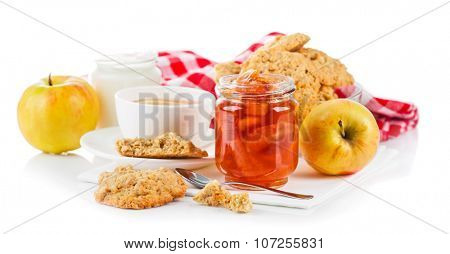 Breakfast with tea and fresh cookies. Isolated on white background. Illustration