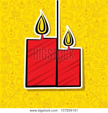 christmas candel label greeting design