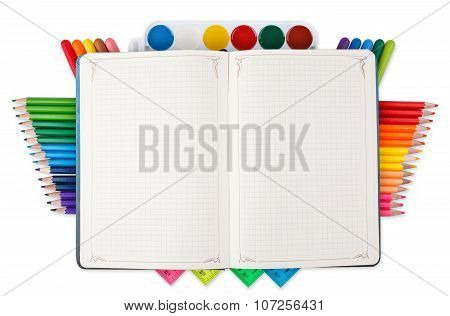 Notebook and bright school stationery isolated on white