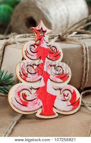 Christmas Toy And Christmas Presents Handmade Closeup