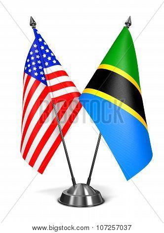 USA and Tanzania - Miniature Flags.
