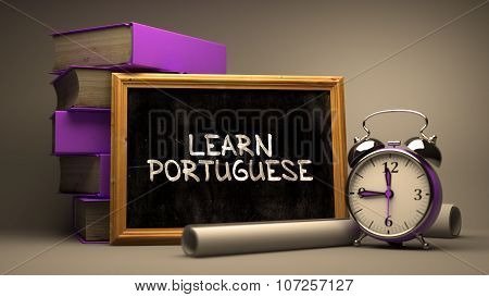 Learn Portuguese - Chalkboard with Inspirational Text.