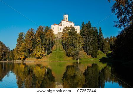 Castle of Trakoscan on the hill in autumn, Zagorje, Croatia