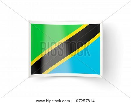 Bent Icon With Flag Of Tanzania
