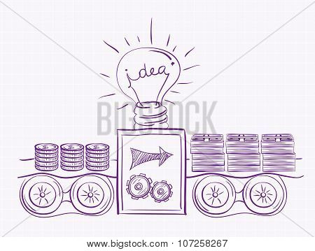 Idea of making money. Machine makes money with idea. Investment scheme